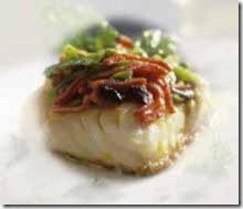 Bacalao con pimientos, merluzzo con peperoni