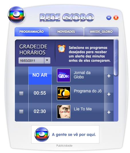 A aplicação exibe a programação do canal, com o resumo da atração