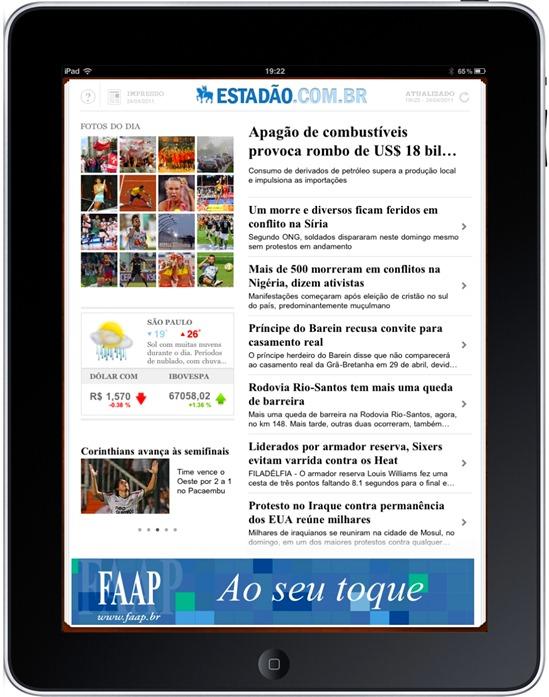 """Estadão Tablet: Tela inicial do aplicativo com conteúdo atualizado pelo portal """"Estadao.com"""""""