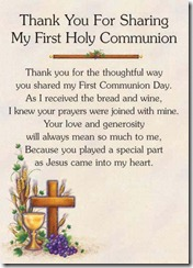 Thanks Card 1st Holy Comm