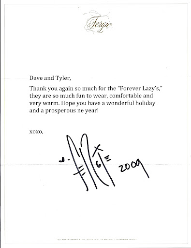Fergie's Thank You Letter