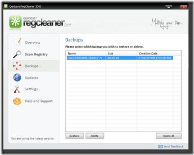 Quicksys RegCleaner 2009 9