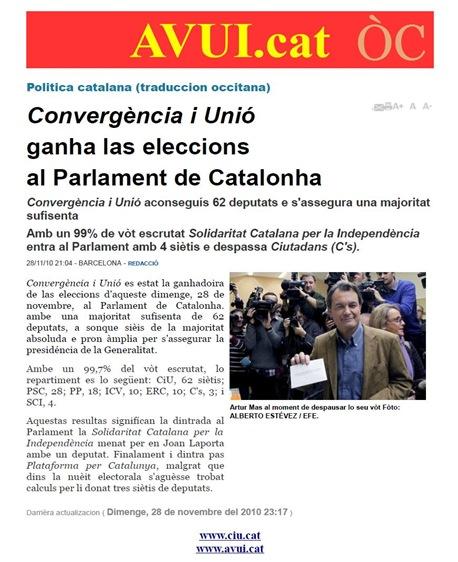 resulta de la nuèit electorala en Catalonha AVUI 281110