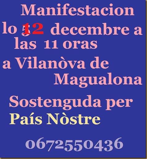 manifestacion lo 5 de decembre a Vilanòva de Magalona