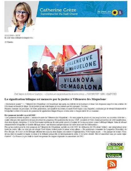 Catherine Grèze publica l'article de 20 minutes 13122010