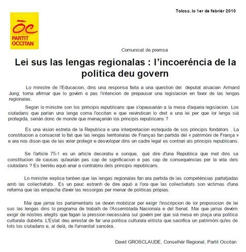 comunicat del Partit Occitan sobre lo debat 020111