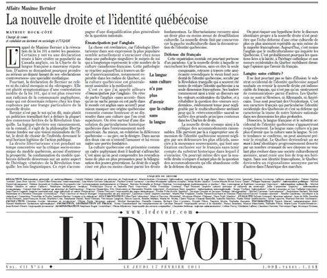 Novèla dreita e l'identitat quebequesa LeDevoir 170211