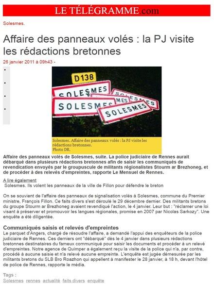 solesmes vilatge tranquil de Sarthe Le Télégramme 040111