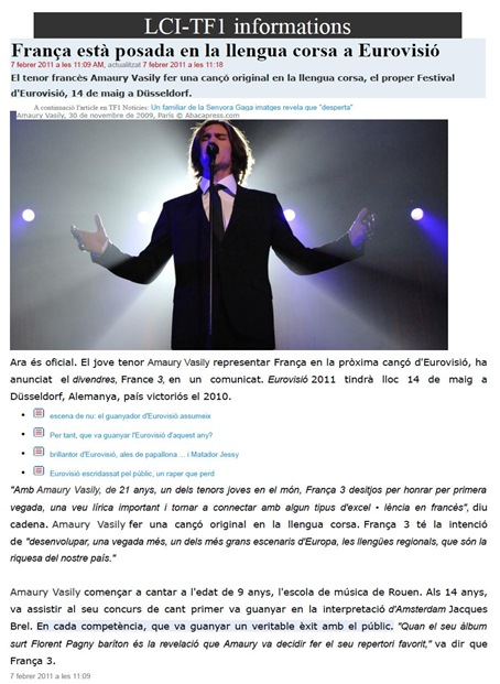cançon de lenga còrsa per l'eurovision 2011 TF1 Information 070211
