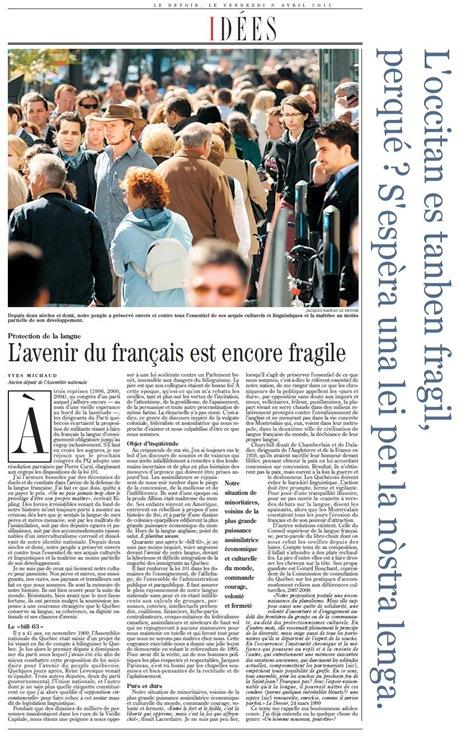 francés occitan LeDevoir 080411