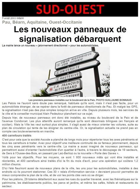 panèu e sinhaletica de la comuna de Pau SO 050411
