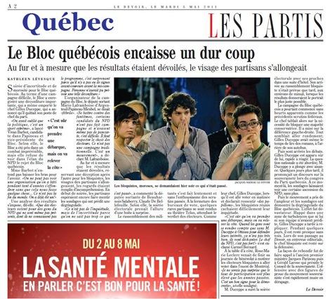 Bloc Québécois Élections Fédérales LeDevoir 020511