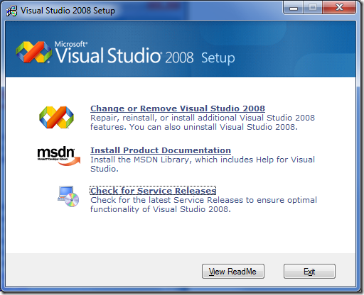 "Visual Studio 2008 setup screen with ""Check for Service Releases"" link active"