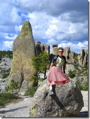 me in skirt on rock