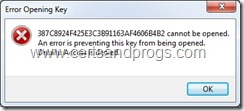 Error Opening Key dialog
