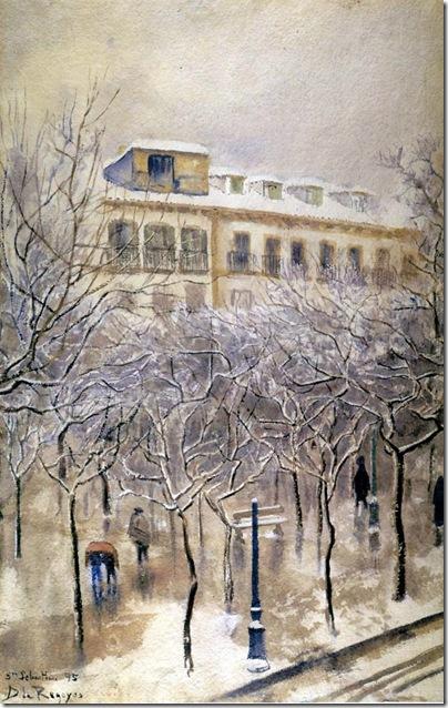 Darío de Regoyos -el boulevard donostiarra nevado 1895
