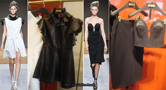 9 appears to be white dress trimmed with black leather ruffles