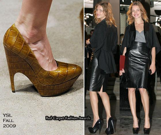 Natalia Vodianova also arrived wearing a YSL leather-wool mix