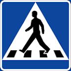 Gājēju pārejas zīme Zviedrijā