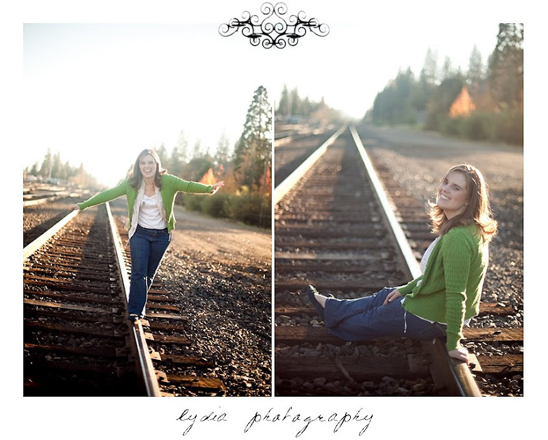 Emi on the railroad tracks for her senior pictures at Colfax California