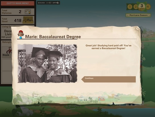 Ayiti screenshot - Marie earns a Baccalaureat
