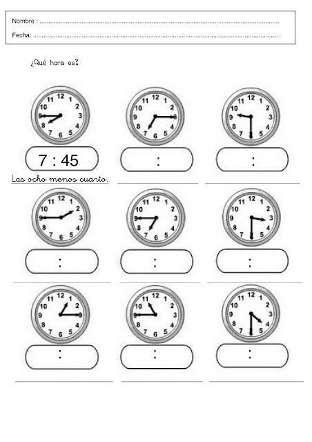 Ejercicios De Las Horas Para Imprimir