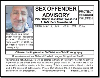 Pete townshend sex offender super bowl