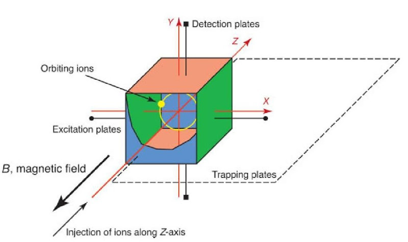 Schematic representation of a cubic FT-ICR cell. The cell is aligned with the bore of the magnet so that the magnetic field axis is coaxial with the trapping axis (z-axis). The excitation and detection plates can be seen, with the trapping electrodes at each end of the cell, and the orbiting ions are shown in yellow