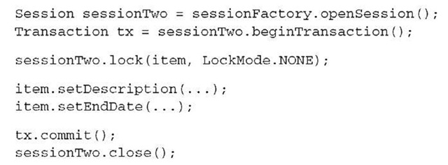 Listing 9.7 Reattaching a detached instance with lock()