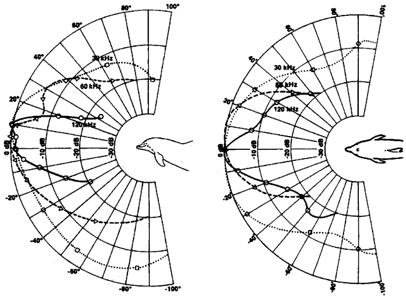 The receiving beam patterns in the horizontal and vertical planes for different frequencies.
