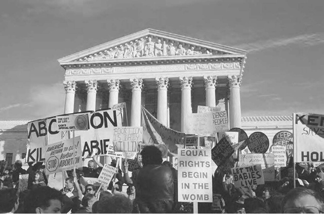 Antiabortion protesters gather in front of the Supreme Court in Washington, D.C., on the sixteenth anniversary of the decision to legalize abortion, January 23, 1989.