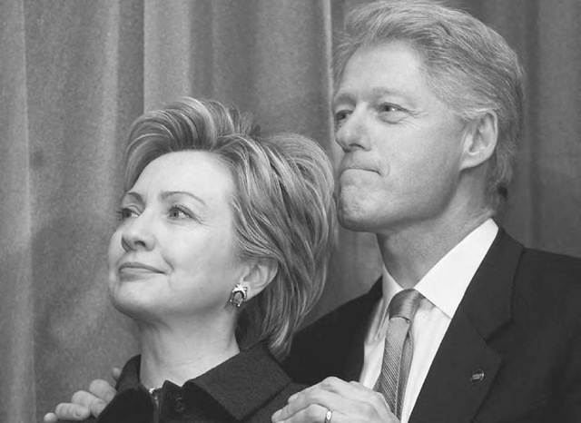 U.S. President Bill Clinton and First Lady Sen. Hillary Rodham Clinton attend a Senate swearing-in reception 3 January 2001 at the Mayflower Hotel in Washington, D.C. Hillary Clinton was sworn in to the U.S. Senate on Capitol Hill earlier in the day.