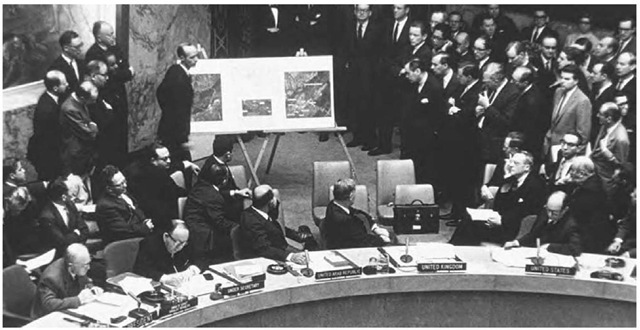 Debate on the Cuban Missile Crisis at the United Nations on 25 October 1962. During the meeting, U.S. ambassador to the United Nations Adlai Stevenson confronted Soviet ambassador Valerian Zorin about the presence of Soviet missiles in Cuba.
