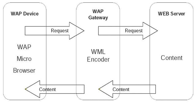WAP programming architecture. The application is stored on the content server and the requested pages are generated dynamically 