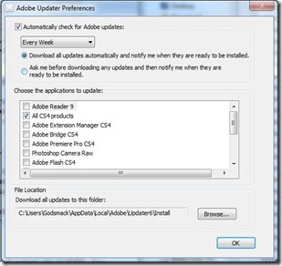 adobe updater preferences