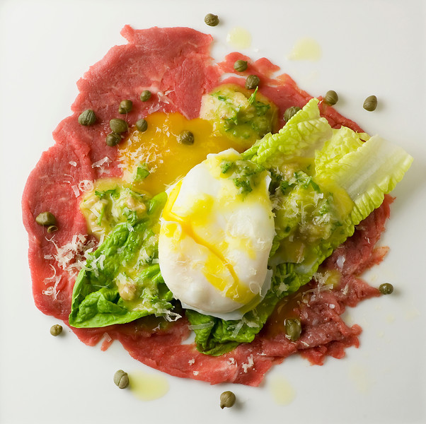 Filet Mignon Carpaccio With Mini Caesar Salad And Poached Egg Recipes ...