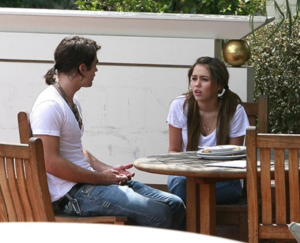 Miley Cyrus and Justin Gaston Arguing Outside A Studio In Studio