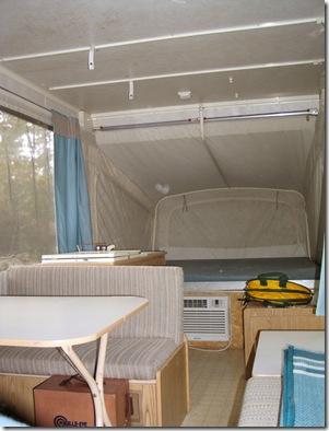 Inside of Colman Popup kingsize bed