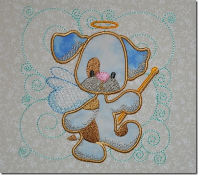 Appliqued Angel Puppies 008
