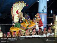 SanthanaGopalam Kathakali: RLV Sunil as Vishnu and Kalamandalam Vijayakumar as Lakshmi.
