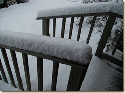 snow on porch