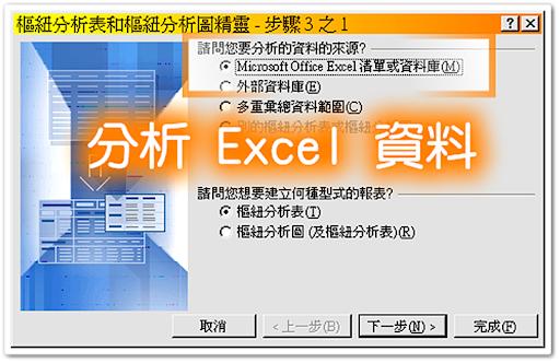 將目前 Excel 中的資料進行樞紐分析