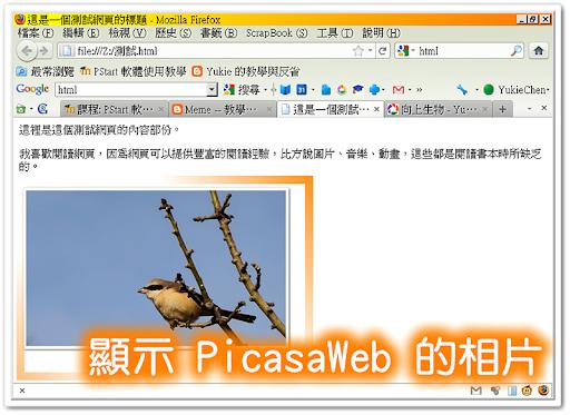 在網頁上顯示 PicasaWeb 的相片