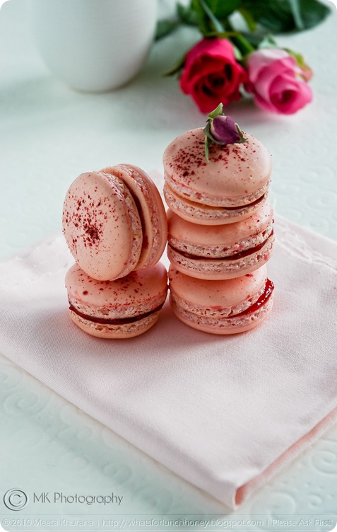 Rosewater and Raspberry Macarons (01) by MeetaK
