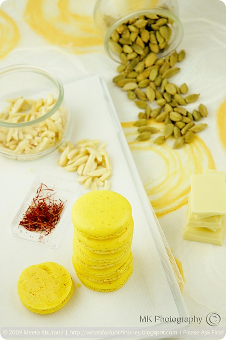 Saffron Cardamom Macarons (01) by MeetaK