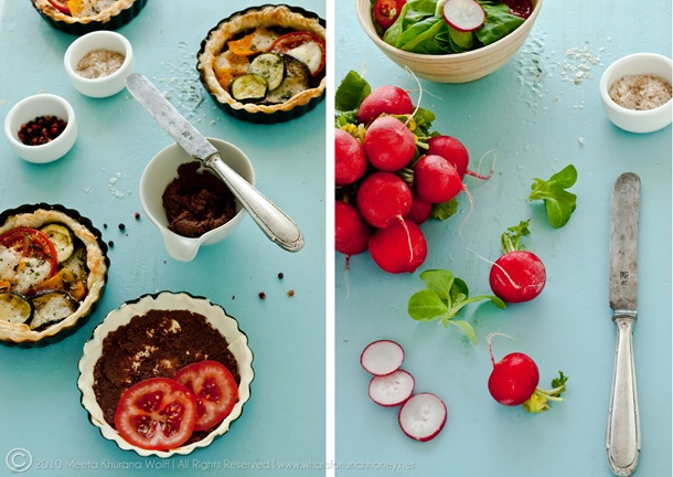 Diptych Roasted Pumpkin Aubergine Zucchini Tapenade Tarts with Buffalo Mozzarella (0001) by Meeta K. Wolff