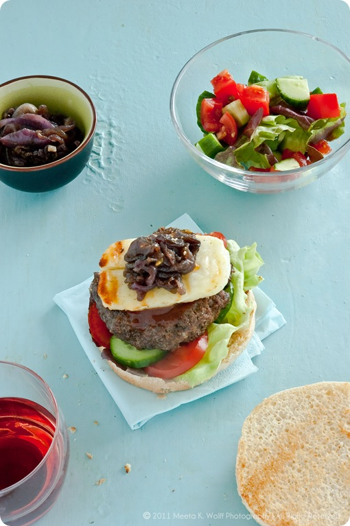 Spiced Lamb Burgers with Caramelized Halloumi Cheese (0011) by Meeta K. Wolff
