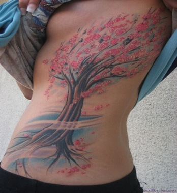 Tree Flower Tattoo, on a sexy place, rare tattoo design, sexy tatto placement