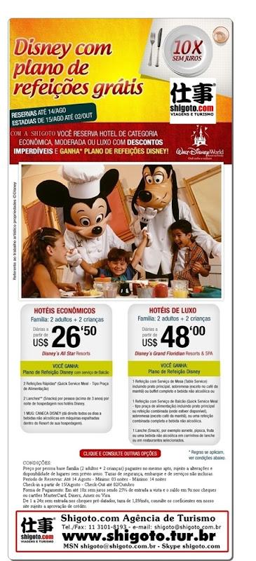 Disney com plano de refeicoes gratis