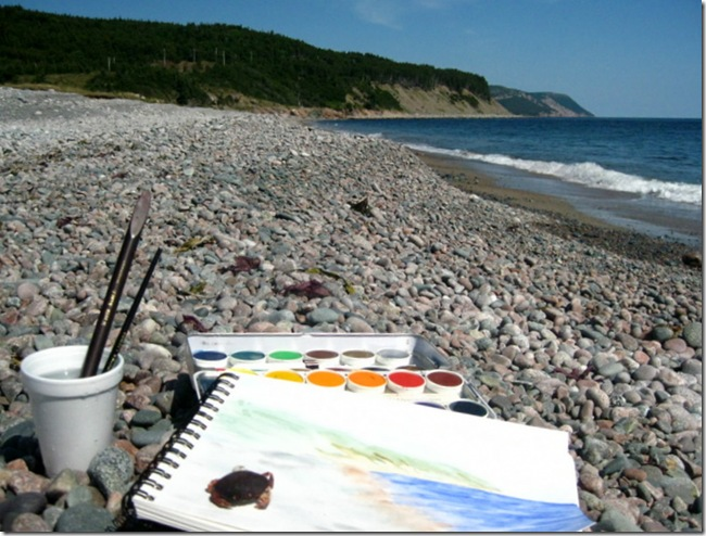 watercolor painting on Singing Pebbles' beach